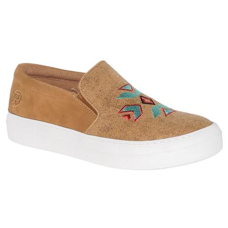 Roper Womens Darcy Light Tan Aztec Slip On Shoe