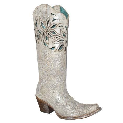 Corral Beige Silver Embroidery Floral Cut Women's Boot
