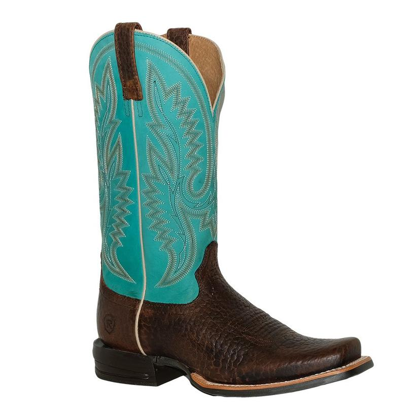 Ariat Mens Relentless Advantage Turquoise Top And Banker Brown Boots