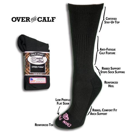 Dan Post Womens Black Over The Calf Cowboy Certified Socks