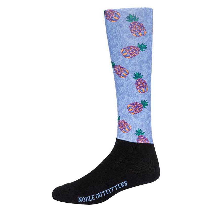 Noble Outfitters Womens Hawaiian Blue Pineapple Printed Over The Calf Peddies