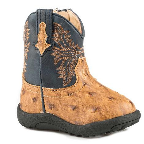 Roper Cowboy Cool Tan Ostrich Navy Top Infant Boots - Infant size 1-4