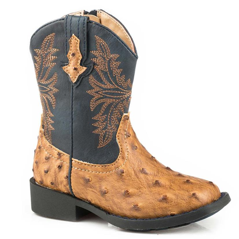 Roper Cowboy Cool Tan Ostrich Navy Top Toddler Boots - Toddler Size 5- 8