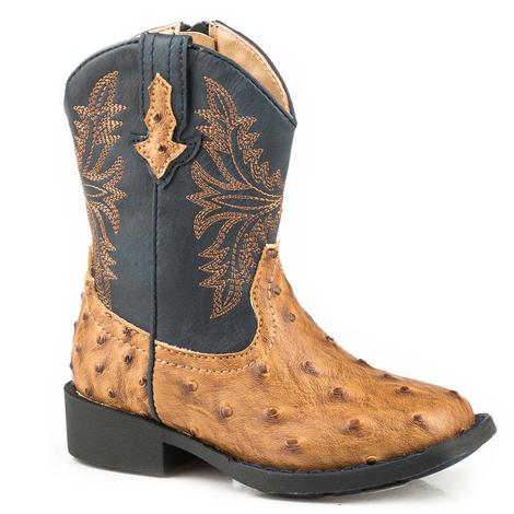 Roper Cowboy Cool Tan Ostrich Navy Top Toddler Boots - Toddler Size 5-8