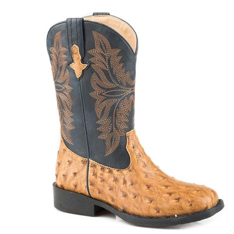 Roper Cowboy Cool Tan Ostrich Navy Top Kids and Youth Boots - Kids Size 9-13 Youth 1-3