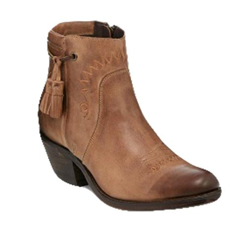 Reba by Justin Womens Nell Tawny Smooth Cowhide Shortie Boots
