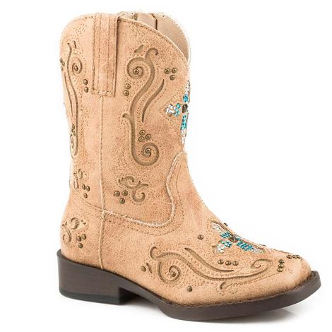 Roper Faith Tan Turquoise Cross Toddler Boots - Size 5-8