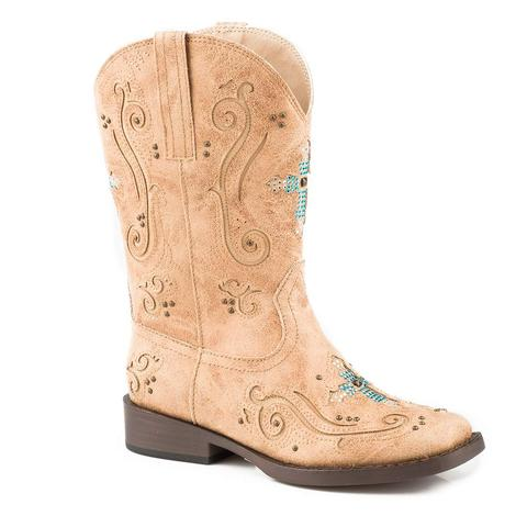 Roper Faith Tan Turquoise Cross Kid Boots