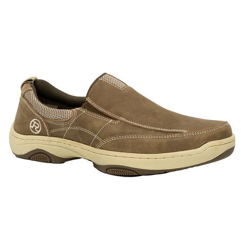 Roper Mens Skipper Too Brown Leather Slip on Boat Shoe