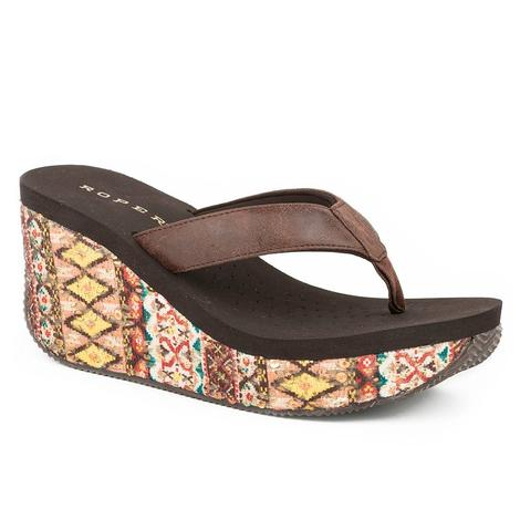 Roper Womens Gina Multi Color Brown Wedge Aztec Sandal