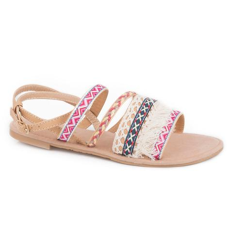 Roper Womens Ariel Multi Strap Pink Grey Sandal