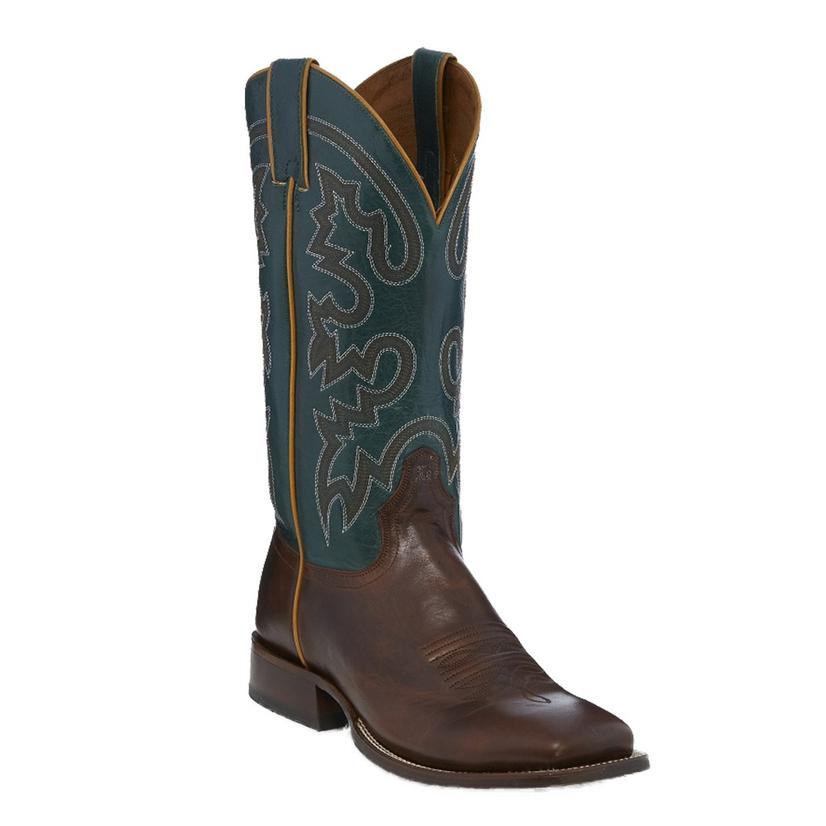 Tony Lama Mens Brown And Slate Blue Boots