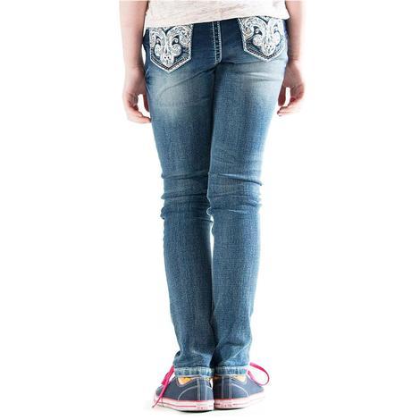 Grace In LA Grils Fleur De Lis Pocket Western Jeans