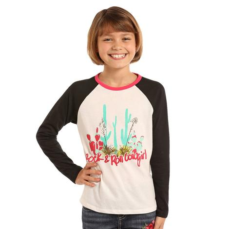 Rock and Roll Cowgirl Black White Cactus Print Girl's Long Sleeve Tee