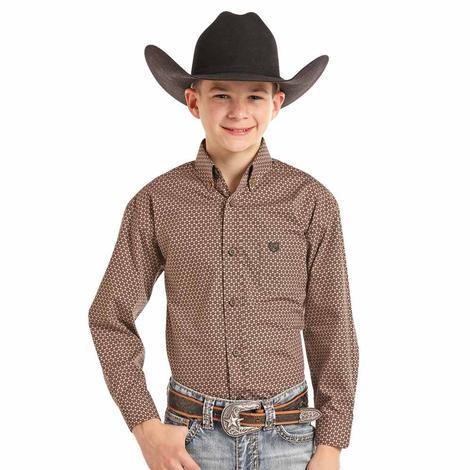 Panhandle Slim Brown Star Print Long Sleeve Boy's Button Down Shirt
