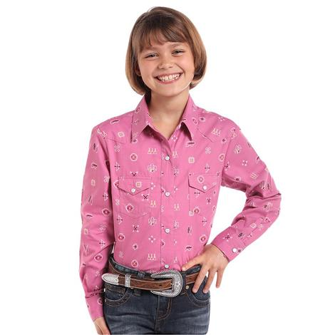Panhandle Slim Pink Long Sleeve Tribal Print Girl's Shirt