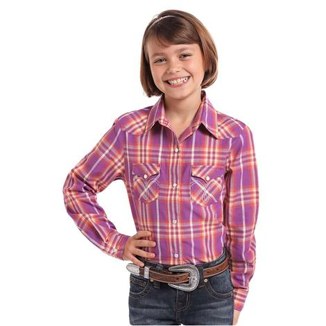 Panhandle Slim Pink and Orange Plaid Girl's Long Sleeve Snap Shirt