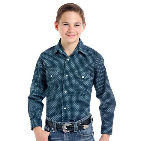 Panhandle Slim Navy Print Long Sleeve Boy's Snap Shirt