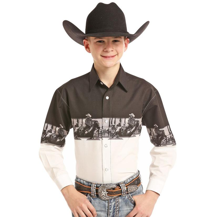Panhandle Slim Black And White Team Roping Boy's Long Sleeve Shirt