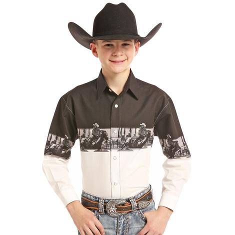 Panhandle Slim Black and White Team Roping Boy's Long Sleeve Shirt