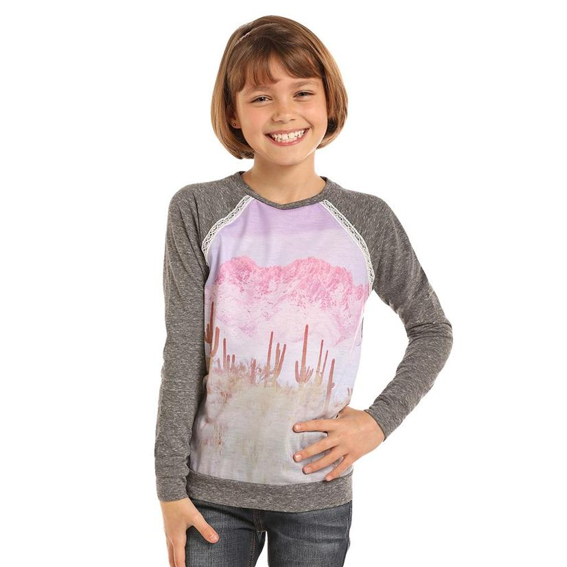 Rock And Roll Cowgirl Grey Desert Long Sleeve Girl's Tee