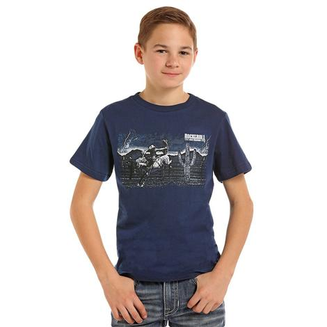 Rock and Roll Cowboy Bronc Cactus Navy Boy's Tee