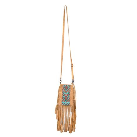 Tasha Polizzi Mila Tan Fringed Crossbody Bag