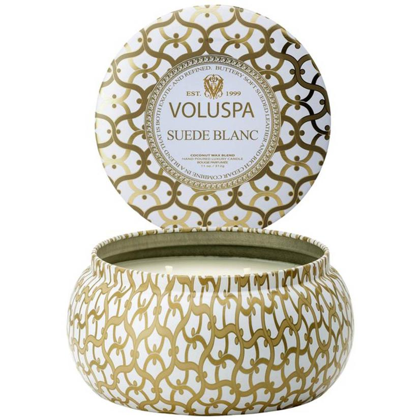 Voluspa Suede Blanc 2 Wick Maison Metallo 11oz Candle
