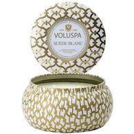 Voluspa Suede Blanc 2 Wick Maison Metallo 11oz Candle