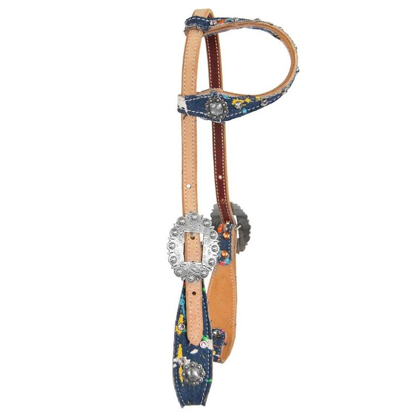 Cactus Saddlery Splattered Denim Headstall