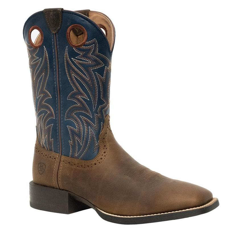Ariat Mens Sport Sidebet Distressed Brown Blue Top Boots