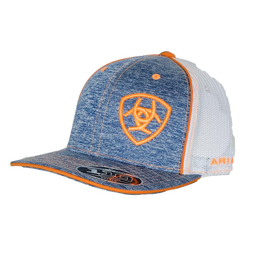 Ariat Heather Blue White With Orange Logo Mesh Back Cap