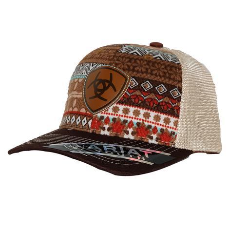 c7468fb12461d Ariat Kids Girl Aztec Brown Mesh Cap