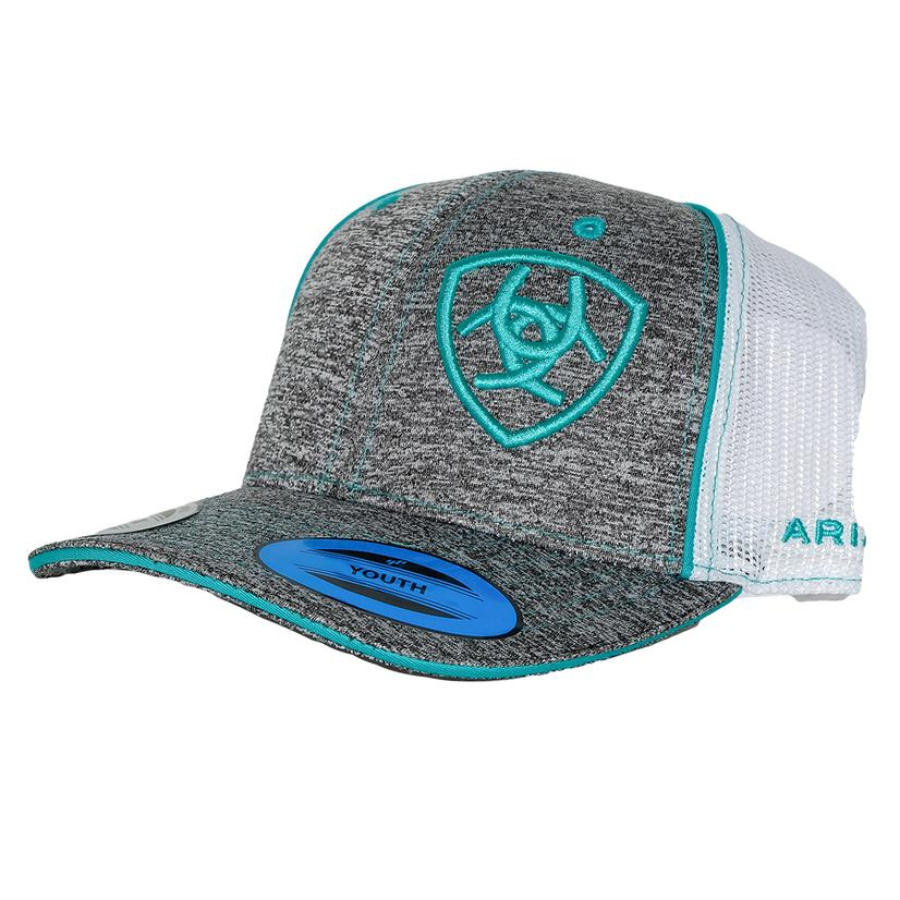 Ariat Youth Heather Grey With Turquoise Logo Cap