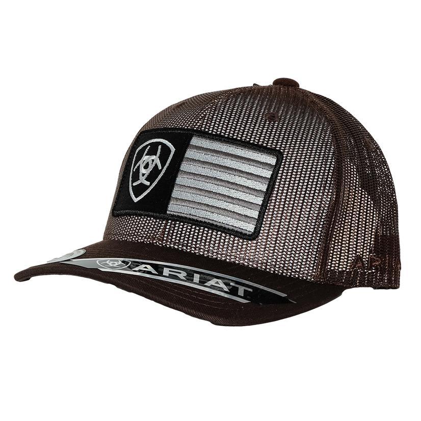 Ariat Mens Full Mesh Shield Flag Center Brown Cap