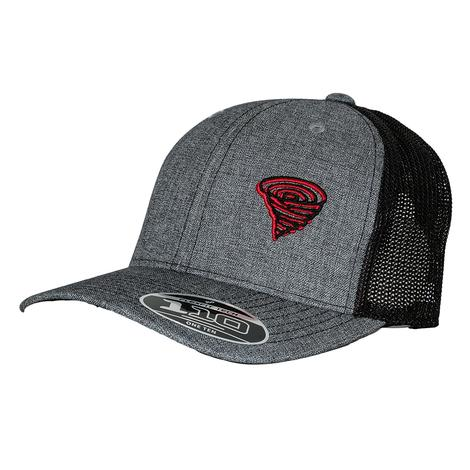 Twister Grey with Black Mesh Back and Red Patch Logo Cap