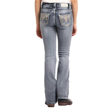 Rock and Roll Denim Girls Light Wash Bright Stitch Pocket Jeans