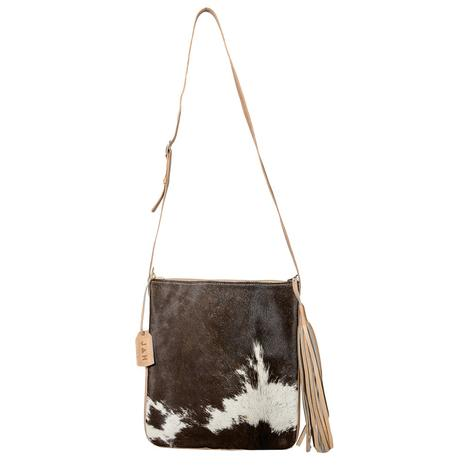 Brown Cowhide with Blonde Leather Crossbody Bag