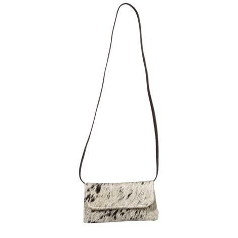 Black and White Cowhide Crossbody Clutch