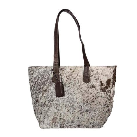 Brown White Speckled Cowhide Leather Tote