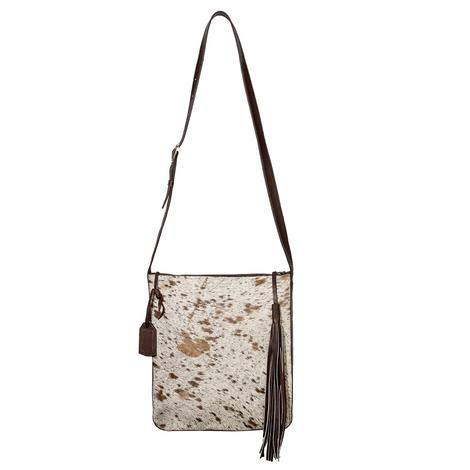 Brown and White Cowhide with Brown Leather Boho Crossbody
