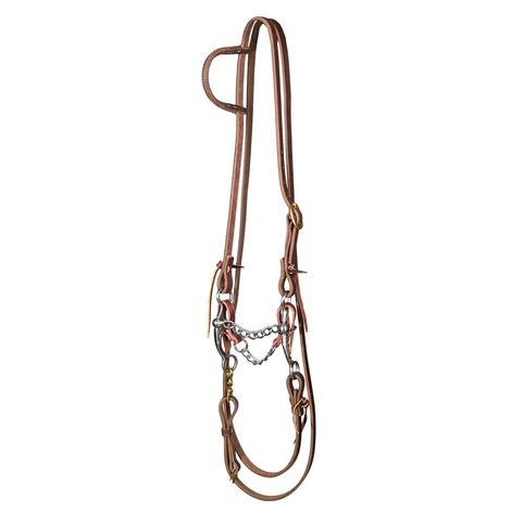 STT Slide Ear Roping Rein Bridal Set with Stockman 6inch Copper Shank Chain Bit