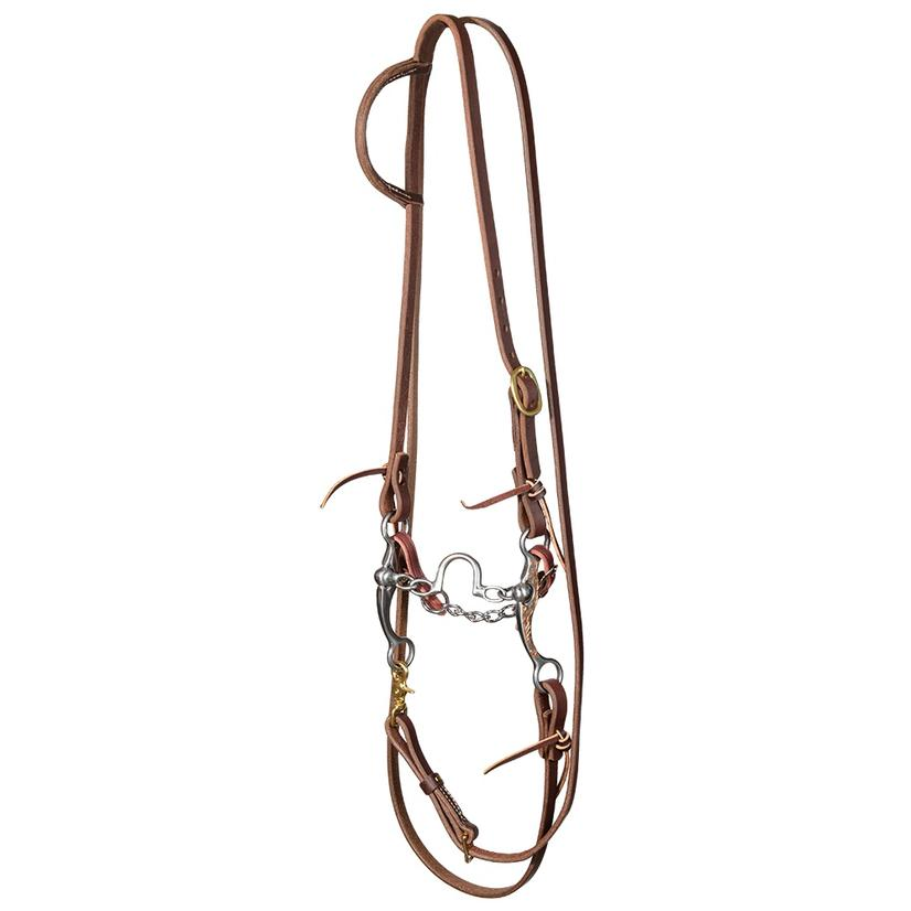 Stt Slide Ear Roping Rein Bridle Set With Stockman 6inch Copper Shank Ported Chain Correction Bit