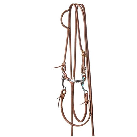 STT Slide Ear Split Rein Bridle Set with 6inch Turquoise Floating Space Bit