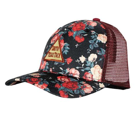 STT Floral Maroon Mesh Back Cap