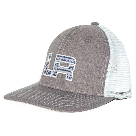 Let's Rope Heather Grey Navy Aztec Mesh Back Cap