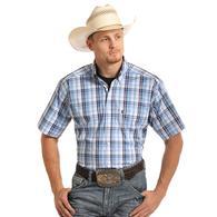 Tuf Cooper Mens Blue Grey Plaid Short Sleeve Shirt
