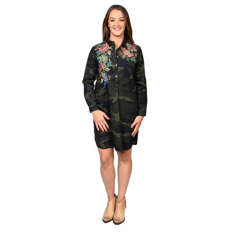 Johnny Was Collection Womens Tyrell Collared Tunic Dress in Forrest Camo