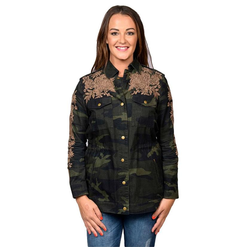 Johnny Was Womens Collection Miloqui Drawstring Miltary Coat In Forrest Camo