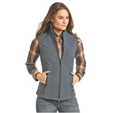 Panhandle Slim Womens Blue Grey Performance Bonded Zip Up Vest